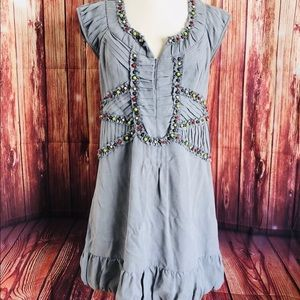 Nanette Lepore silk beaded dress size 2 gray